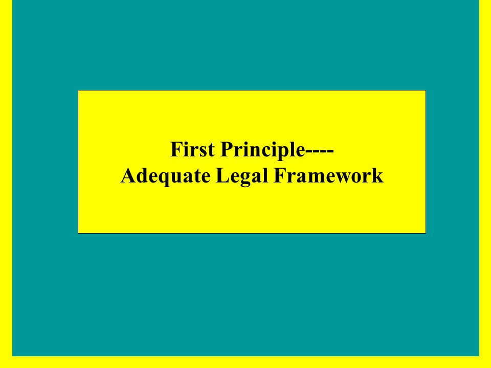 First Principle---- Adequate Legal Framework