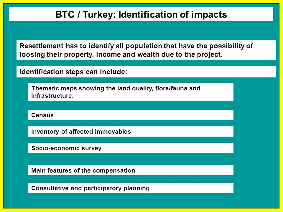 BTC / Turkey: Identification of impacts Resettlement has to identify all population that have the possibility of loosing their property, income and wealth due to the project.