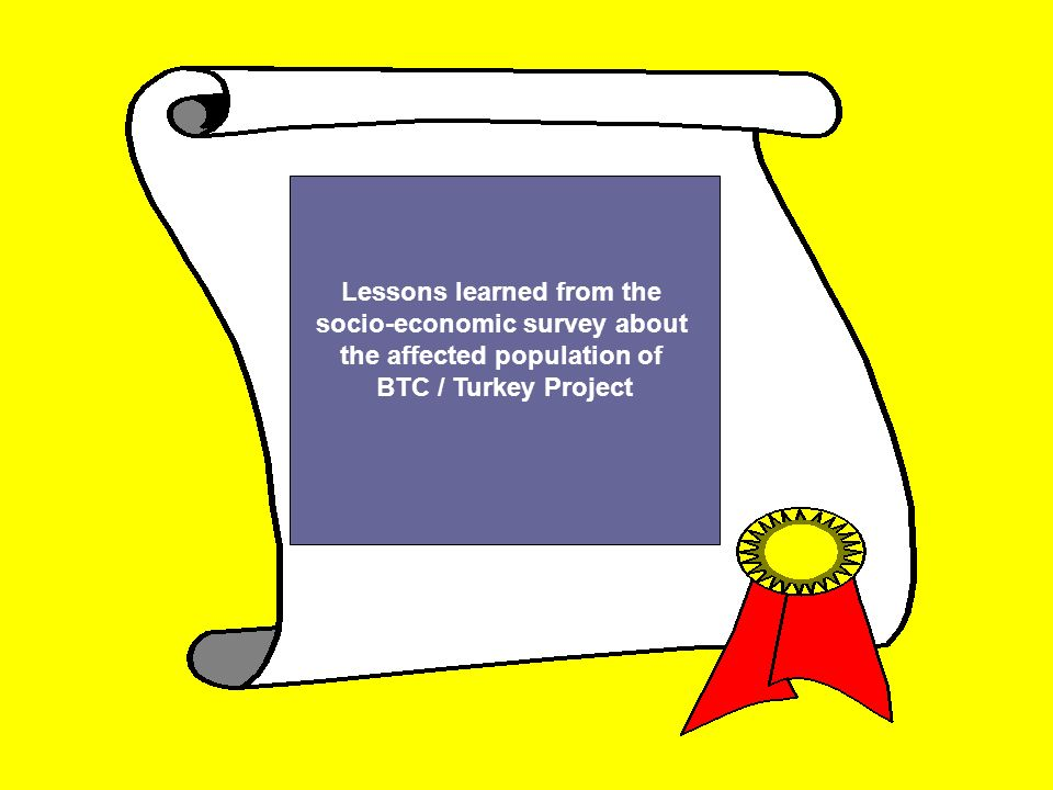 Lessons learned from the socio-economic survey about the affected population of BTC / Turkey Project