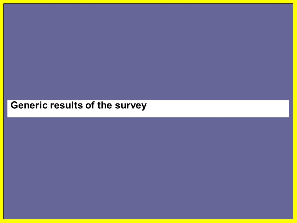 Generic results of the survey
