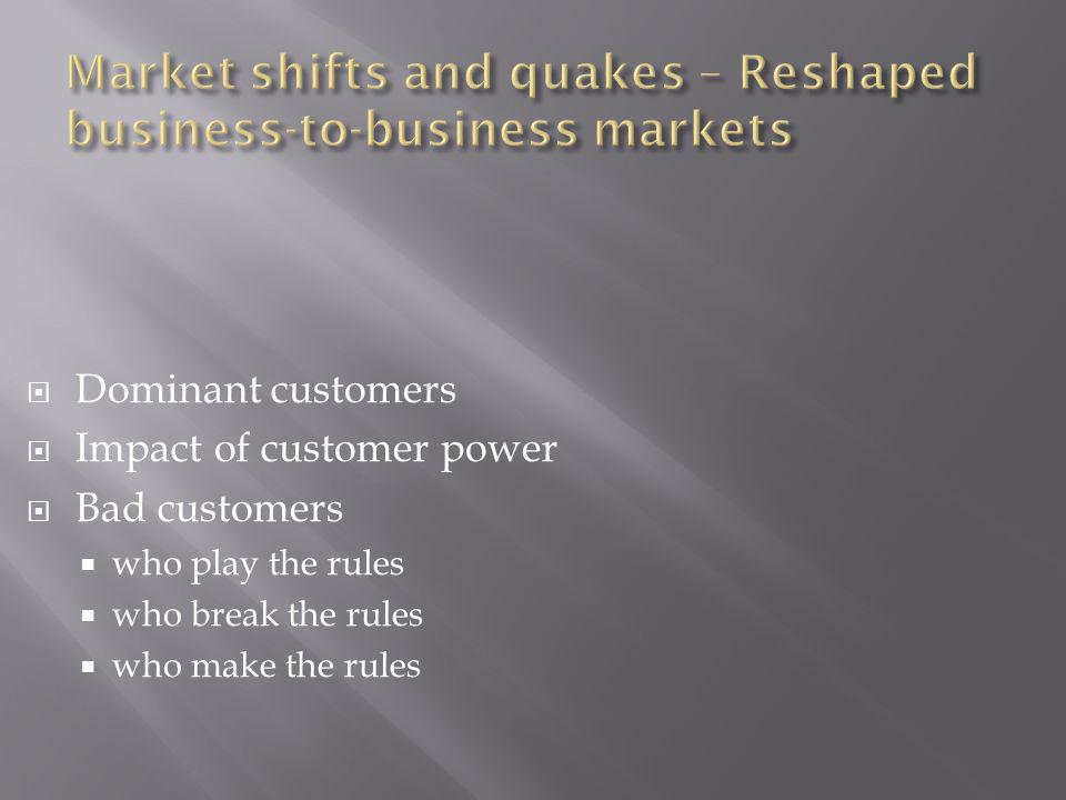 Dominant customers Impact of customer power Bad customers who play the rules who break the rules who make the rules
