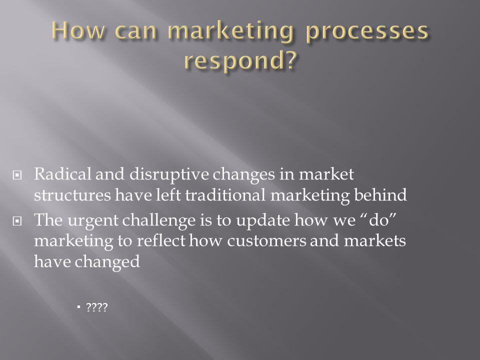 Radical and disruptive changes in market structures have left traditional marketing behind The urgent challenge is to update how we do marketing to re