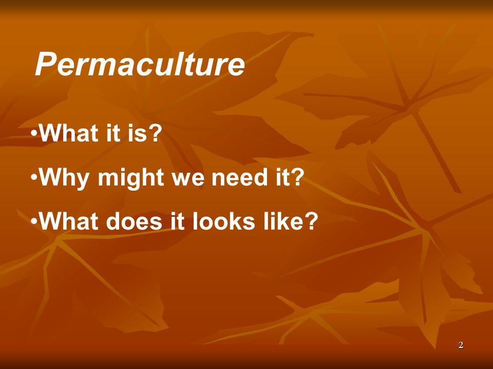 2 What it is Why might we need it What does it looks like Permaculture