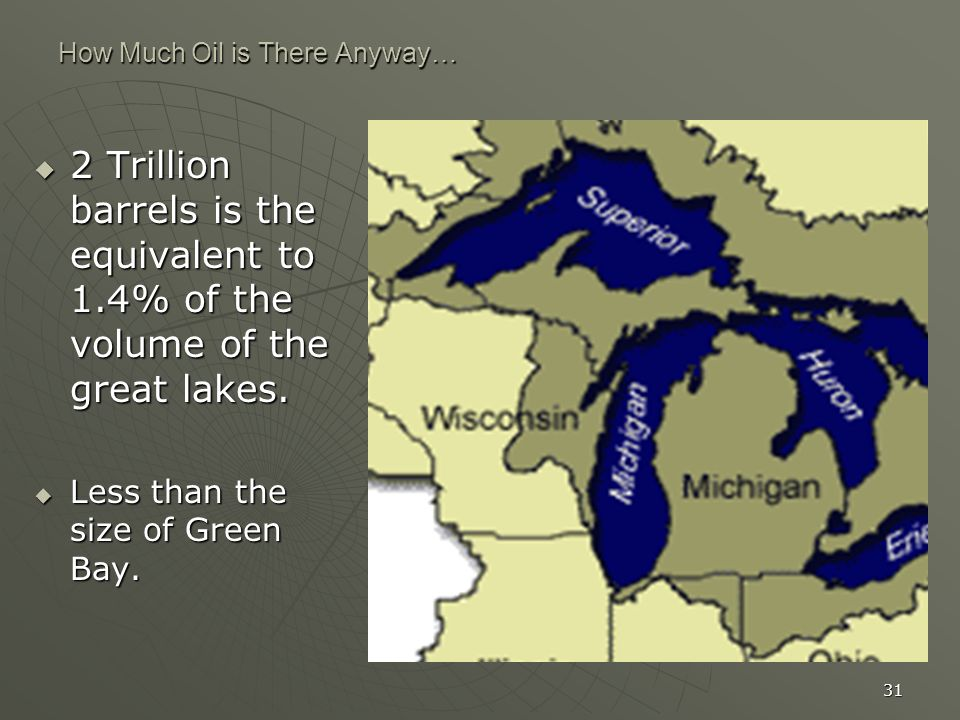 31 How Much Oil is There Anyway… 2 Trillion barrels is the equivalent to 1.4% of the volume of the great lakes. 2 Trillion barrels is the equivalent t