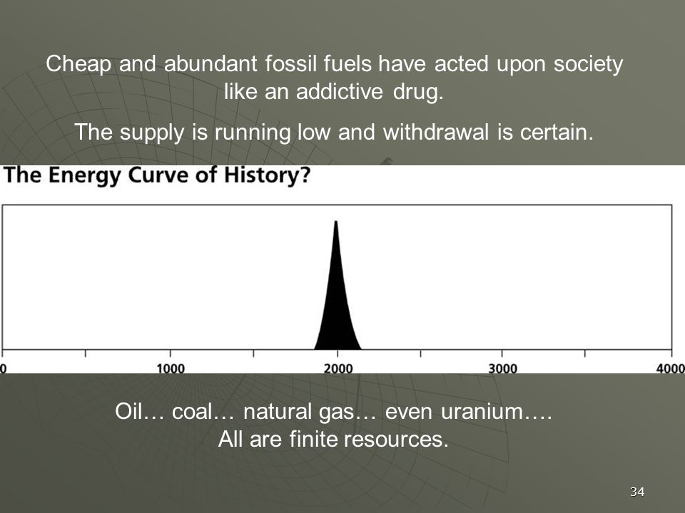 34 Cheap and abundant fossil fuels have acted upon society like an addictive drug.