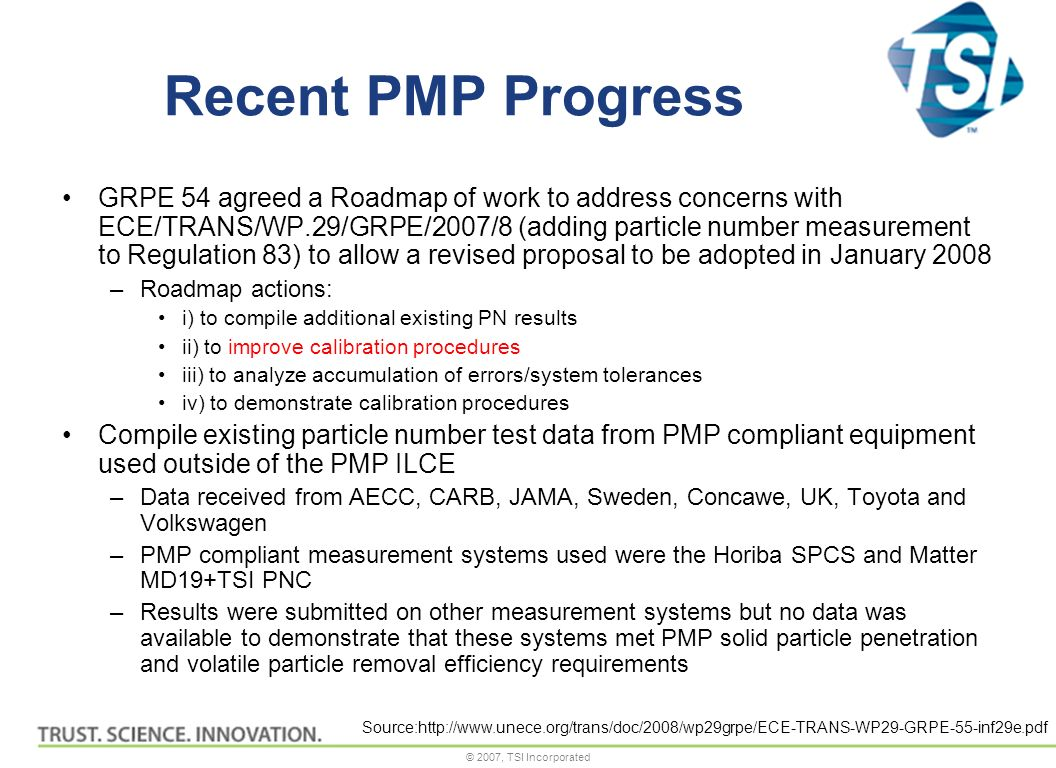© 2007, TSI Incorporated Recent PMP Progress GRPE 54 agreed a Roadmap of work to address concerns with ECE/TRANS/WP.29/GRPE/2007/8 (adding particle number measurement to Regulation 83) to allow a revised proposal to be adopted in January 2008 –Roadmap actions: i) to compile additional existing PN results ii) to improve calibration procedures iii) to analyze accumulation of errors/system tolerances iv) to demonstrate calibration procedures Compile existing particle number test data from PMP compliant equipment used outside of the PMP ILCE –Data received from AECC, CARB, JAMA, Sweden, Concawe, UK, Toyota and Volkswagen –PMP compliant measurement systems used were the Horiba SPCS and Matter MD19+TSI PNC –Results were submitted on other measurement systems but no data was available to demonstrate that these systems met PMP solid particle penetration and volatile particle removal efficiency requirements Source:http://www.unece.org/trans/doc/2008/wp29grpe/ECE-TRANS-WP29-GRPE-55-inf29e.pdf