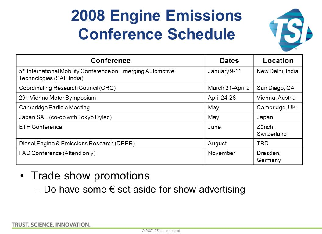 © 2007, TSI Incorporated 2008 Engine Emissions Conference Schedule Trade show promotions –Do have some set aside for show advertising ConferenceDatesLocation 5 th International Mobility Conference on Emerging Automotive Technologies (SAE India) January 9-11New Delhi, India Coordinating Research Council (CRC)March 31-April 2San Diego, CA 29 th Vienna Motor SymposiumApril 24-28Vienna, Austria Cambridge Particle MeetingMayCambridge, UK Japan SAE (co-op with Tokyo Dylec)MayJapan ETH ConferenceJuneZürich, Switzerland Diesel Engine & Emissions Research (DEER)AugustTBD FAD Conference (Attend only)NovemberDresden, Germany