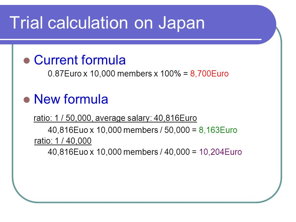 Trial calculation on Japan Current formula 0.87Euro x 10,000 members x 100% = 8,700Euro New formula ratio: 1 / 50,000, average salary: 40,816Euro 40,816Euo x 10,000 members / 50,000 = 8,163Euro ratio: 1 / 40,000 40,816Euo x 10,000 members / 40,000 = 10,204Euro