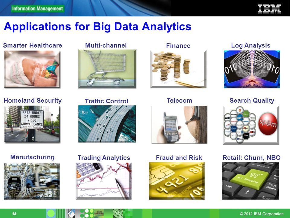 © 2012 IBM Corporation 14 Applications for Big Data Analytics Homeland Security Finance Smarter HealthcareMulti-channel sales Telecom Manufacturing Tr