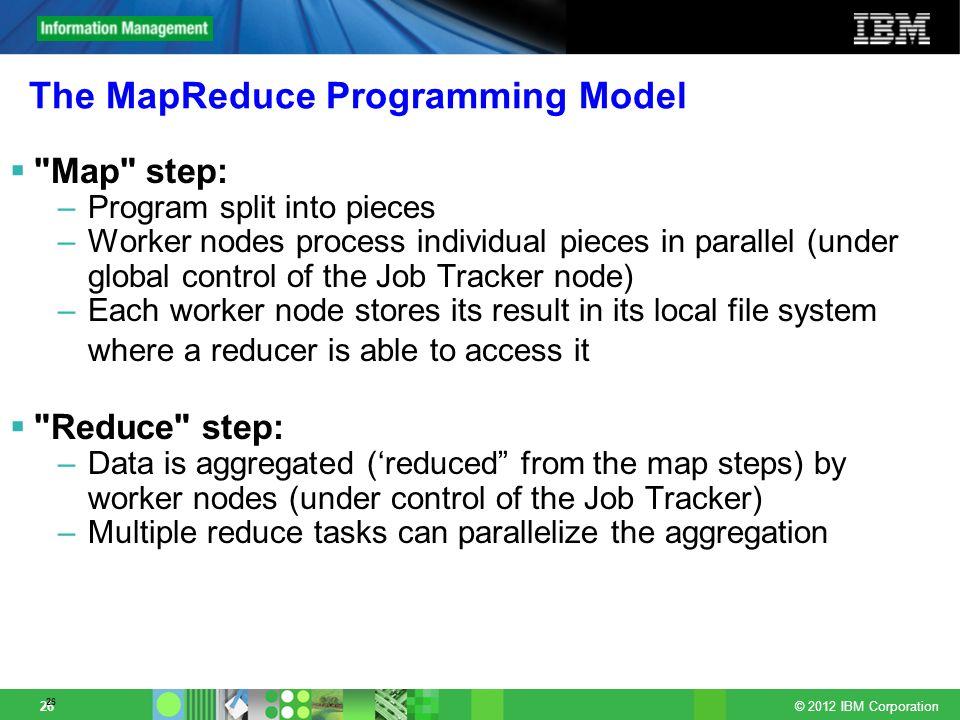 © 2012 IBM Corporation 26 The MapReduce Programming Model