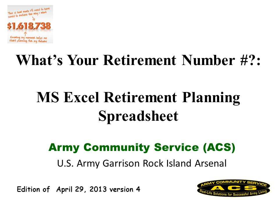 Basic Retirement Financial Planning- Part 2 - ACS RIA 31 Retirement Capabilities MS Excel (.xls) Work Sheet How do you know it is accurate.
