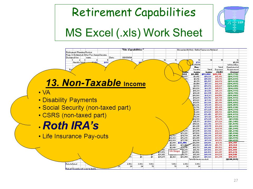 26 Retirement Capabilities MS Excel (.xls) Work Sheet 10. Taxable Income 11. Taxable Rate (effective rate for Federal and State) 12. After Tax Income