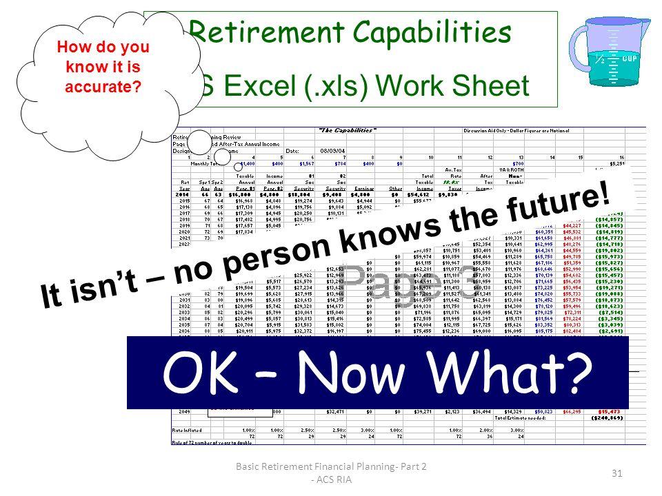 Basic Retirement Financial Planning- Part 2 - ACS RIA 30 Retirement Capabilities MS Excel (.xls) Work Sheet Deficit! Increase Ret Savings? Insurance?