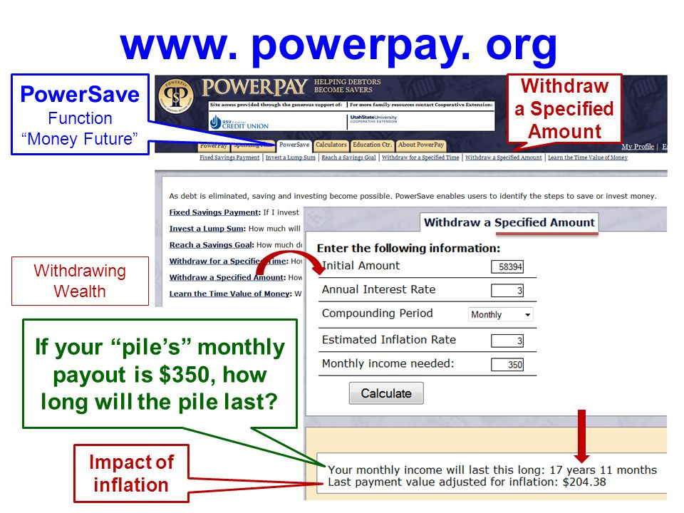 www. powerpay. org PowerSave Function Money Future Withdrawing Wealth Your piles monthly payout over 25 years = $_ Impact of inflation Withdraw for a