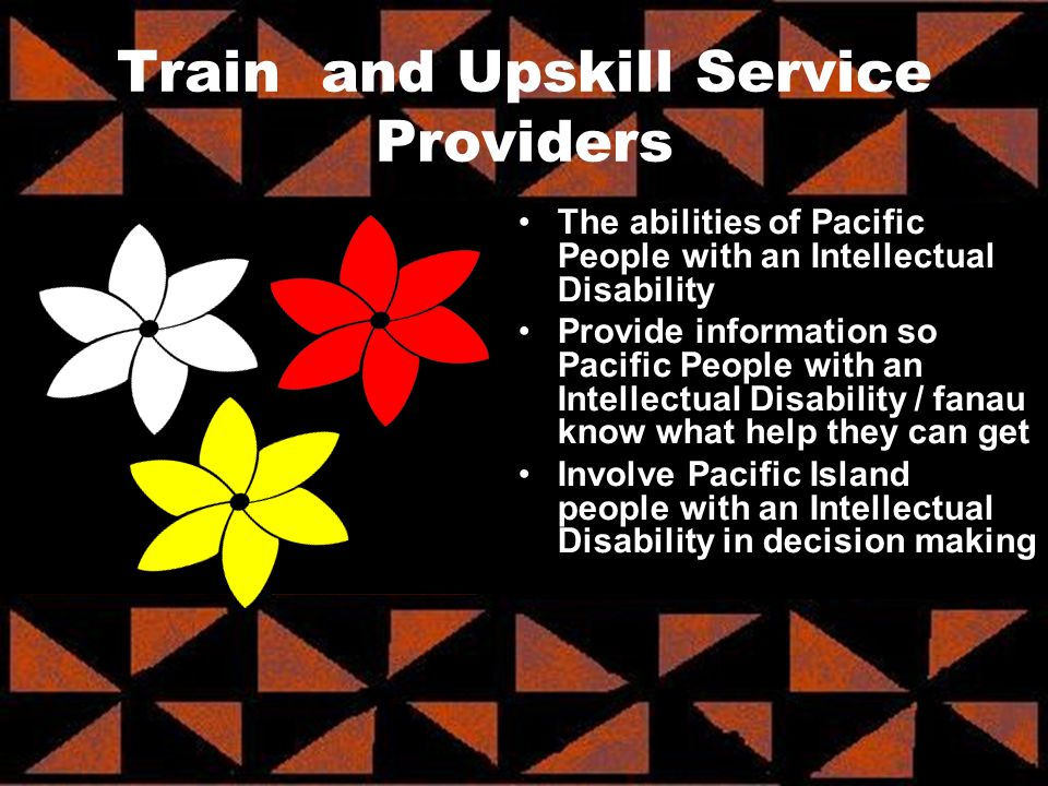 The abilities of Pacific People with an Intellectual Disability Provide information so Pacific People with an Intellectual Disability / fanau know wha