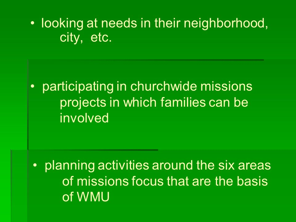 looking at needs in their neighborhood, city, etc.