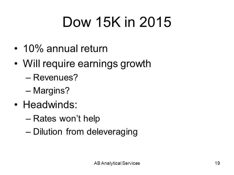 AB Analytical Services19 Dow 15K in 2015 10% annual return Will require earnings growth –Revenues? –Margins? Headwinds: –Rates wont help –Dilution fro