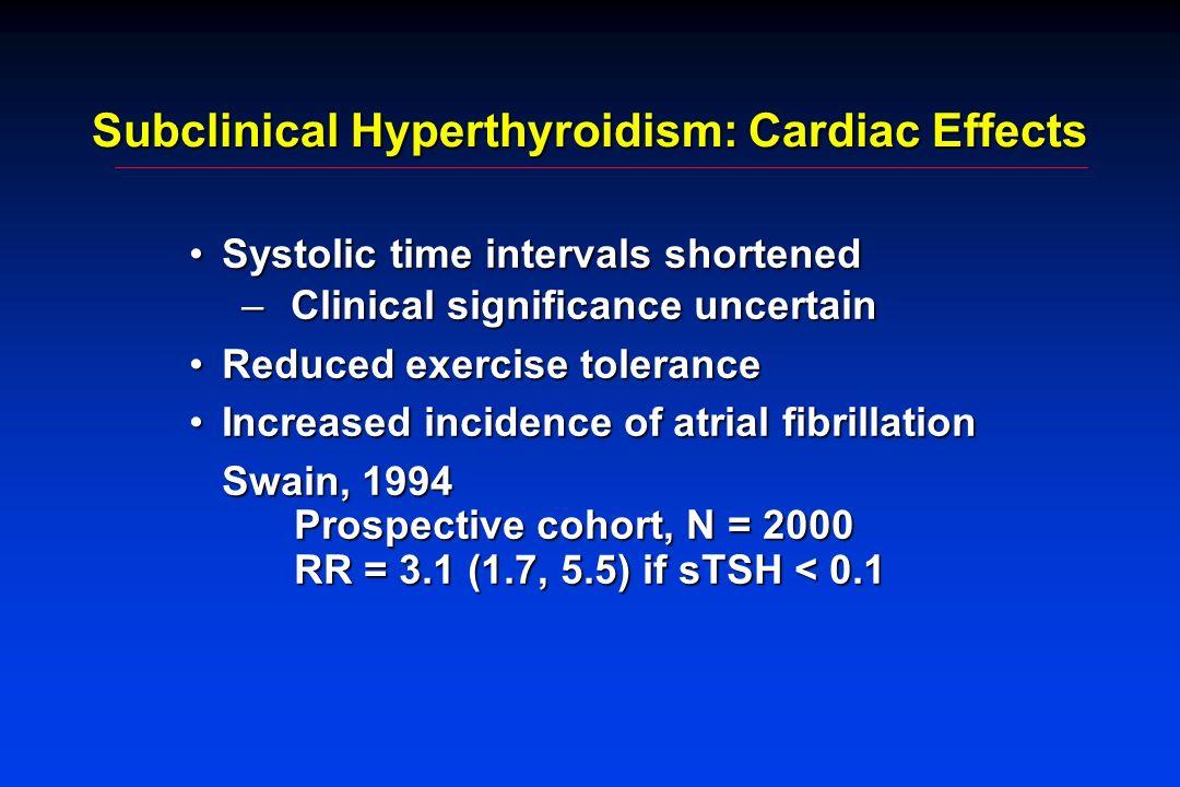 Subclinical Hyperthyroidism: Cardiac Effects Systolic time intervals shortenedSystolic time intervals shortened – Clinical significance uncertain Redu