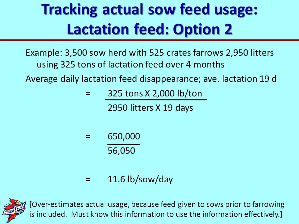Tracking actual sow feed usage: Lactation feed: Option 2 Example: 3,500 sow herd with 525 crates farrows 2,950 litters using 325 tons of lactation fee