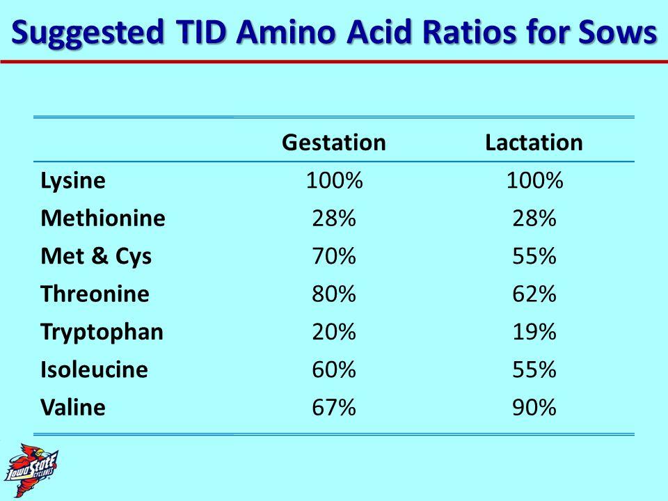 Suggested TID Amino Acid Ratios for Sows GestationLactation Lysine100% Methionine28% Met & Cys70%55% Threonine80%62% Tryptophan20%19% Isoleucine60%55%
