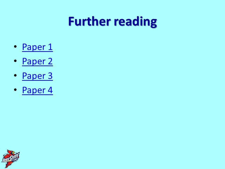Further reading Paper 1 Paper 2 Paper 3 Paper 4