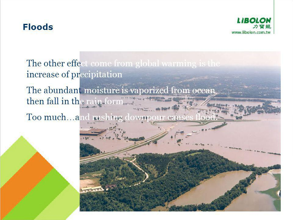 Floods The other effect come from global warming is the increase of precipitation The abundant moisture is vaporized from ocean then fall in the rain