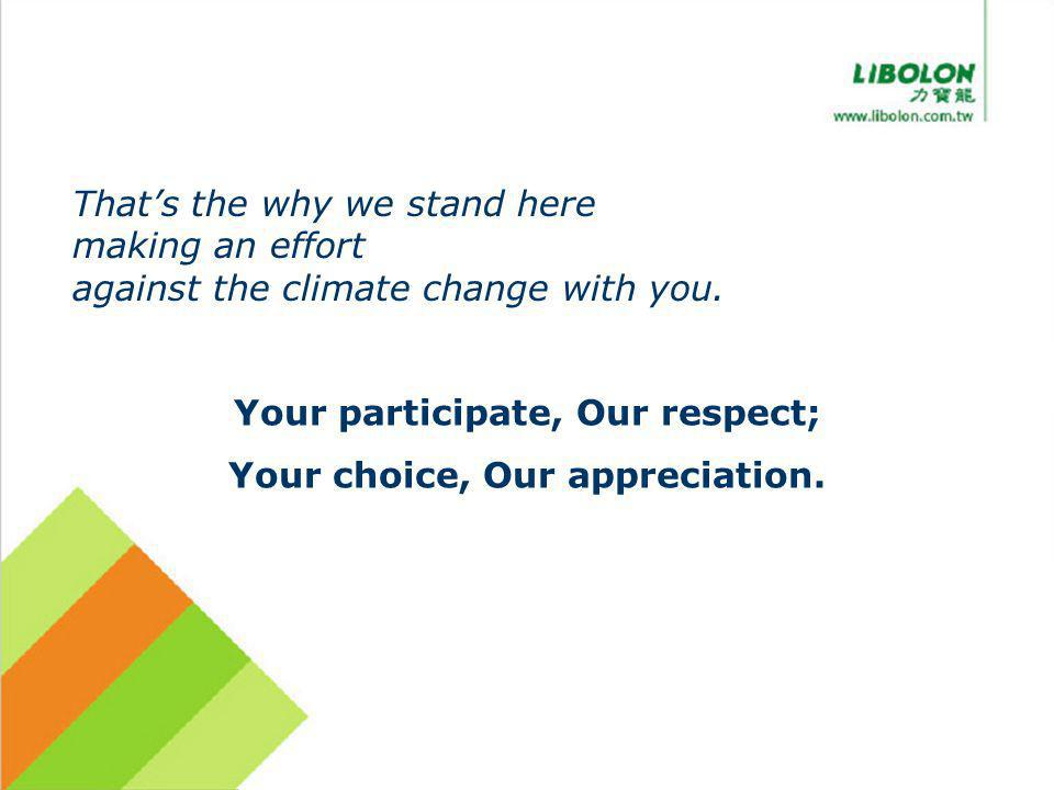 Thats the why we stand here making an effort against the climate change with you. Your participate, Our respect; Your choice, Our appreciation.