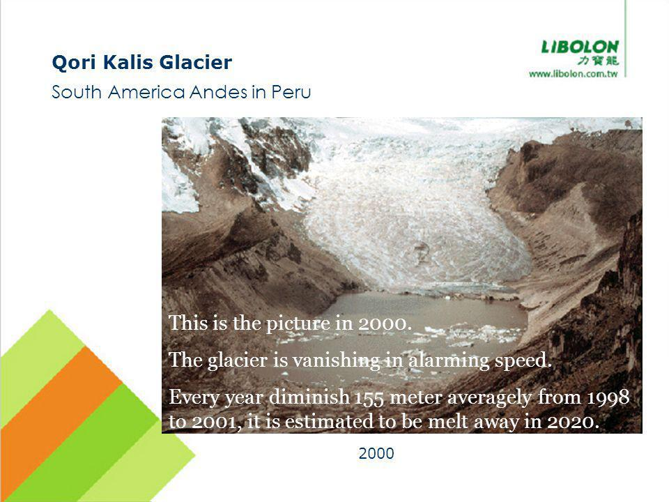 Qori Kalis Glacier South America Andes in Peru 2000 This is the picture in 2000. The glacier is vanishing in alarming speed. Every year diminish 155 m