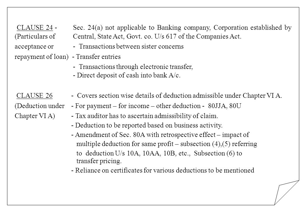 CLAUSE 24 - Sec. 24(a) not applicable to Banking company, Corporation established by (Particulars of Central, State Act, Govt. co. U/s 617 of the Comp