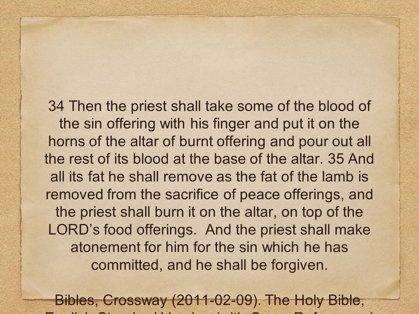 34 Then the priest shall take some of the blood of the sin offering with his finger and put it on the horns of the altar of burnt offering and pour out all the rest of its blood at the base of the altar.