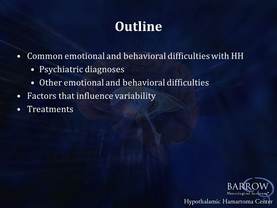 Behavioral Treatments Anger management Behavioral analysis Is the rage/aggression volitional Antecedents >> Behavior >> Outcomes Patient recognition Identification of triggers Labeling of physiological markers Development of strategies for management Reinforcement for using strategies Response cost for inappropriate behaviors The Explosive Child by Ross Greene