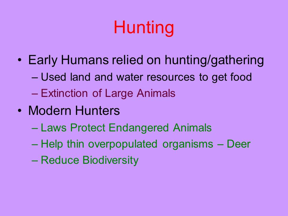 Hunting Early Humans relied on hunting/gathering –Used land and water resources to get food –Extinction of Large Animals Modern Hunters –Laws Protect