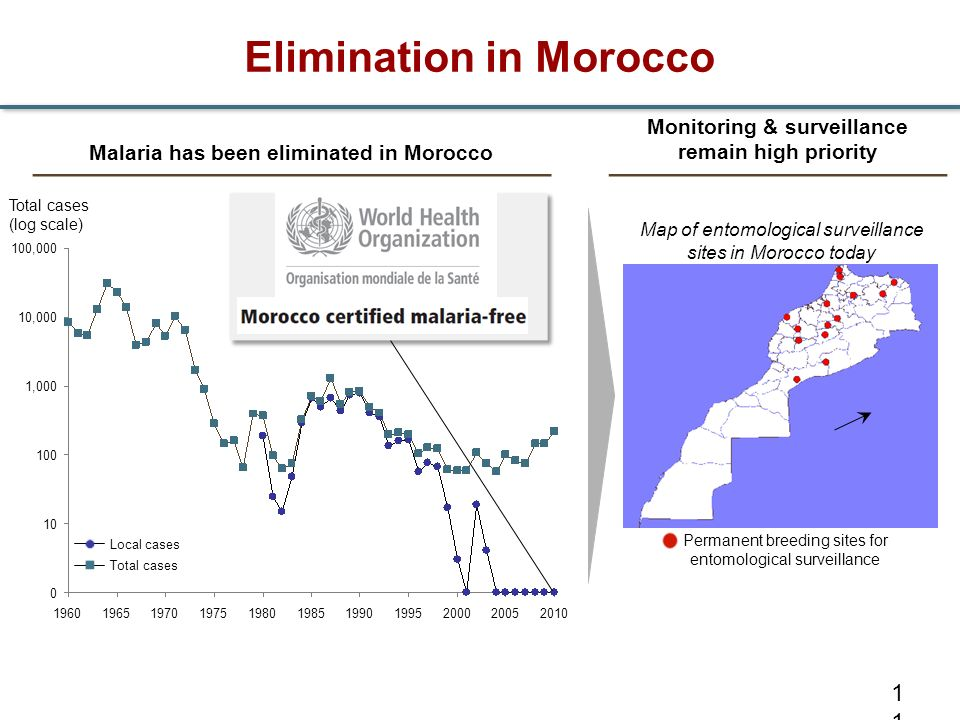 Elimination in Morocco 11 Malaria has been eliminated in Morocco Total cases (log scale) 100,000 10,000 1,000 100 10 0 2010200520001995199019851980197