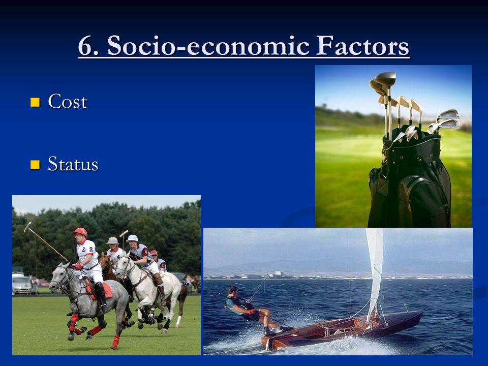 6. Socio-economic Factors Cost Cost Status Status