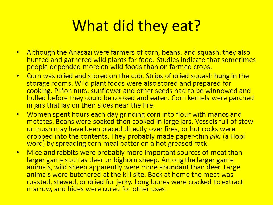 What did they eat? Although the Anasazi were farmers of corn, beans, and squash, they also hunted and gathered wild plants for food. Studies indicate