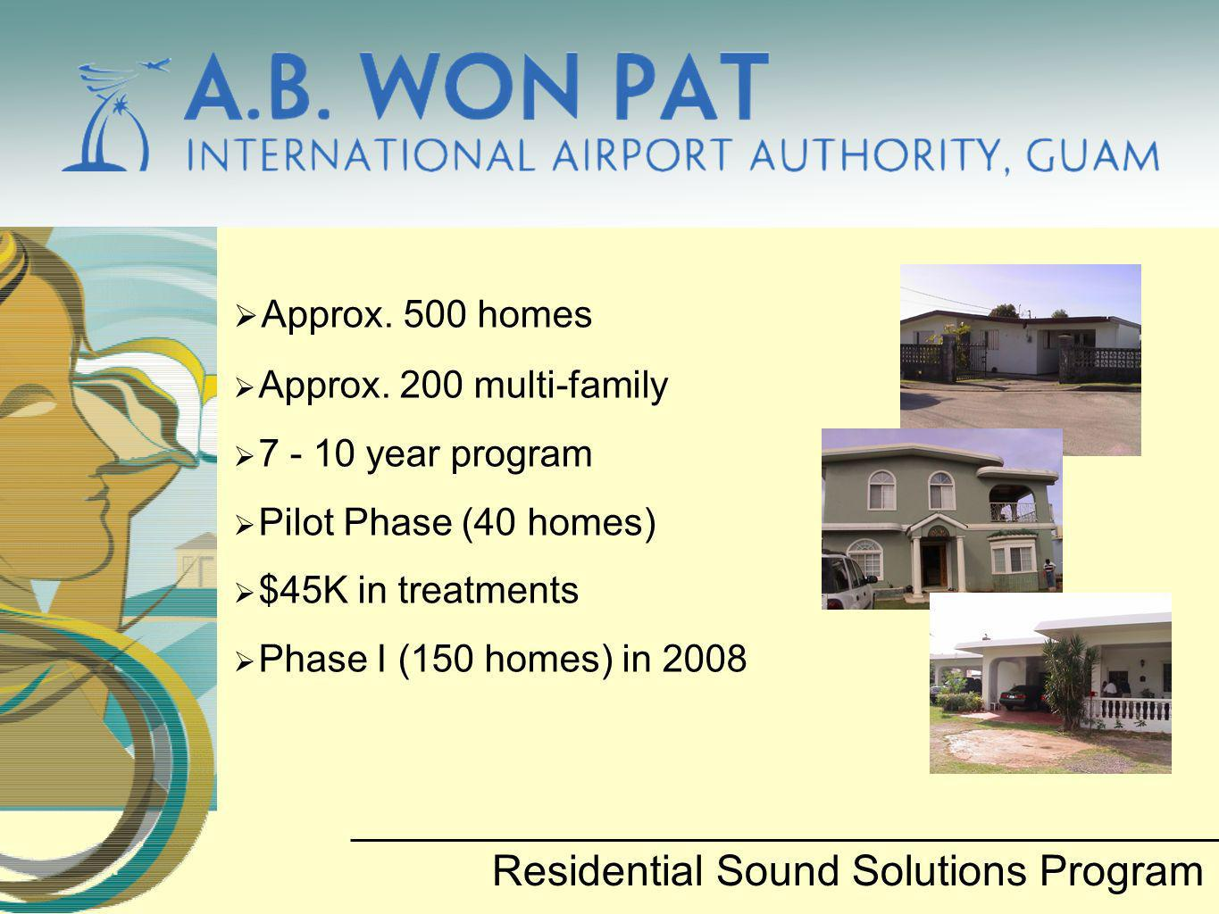Approx. 500 homes Approx. 200 multi-family 7 - 10 year program Pilot Phase (40 homes) $45K in treatments Phase I (150 homes) in 2008 Residential Sound