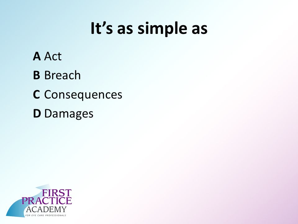 Its as simple as AAct BBreach CConsequences DDamages