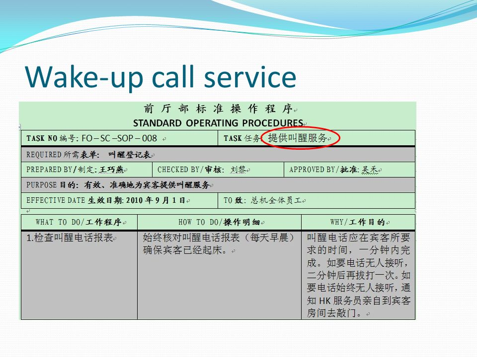 Wake-up call service