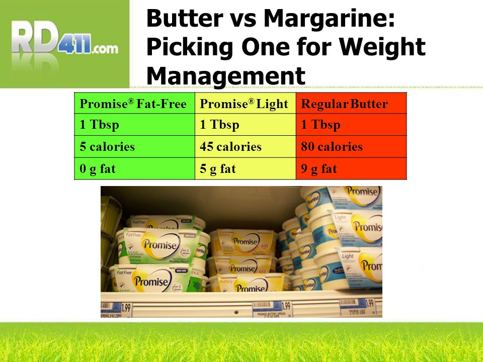Butter vs Margarine: Picking One for Weight Management Promise ® Fat-FreePromise ® LightRegular Butter 1 Tbsp 5 calories45 calories80 calories 0 g fat
