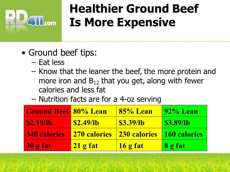 Healthier Ground Beef Is More Expensive Ground beef tips: –Eat less –Know that the leaner the beef, the more protein and more iron and B 12 that you g