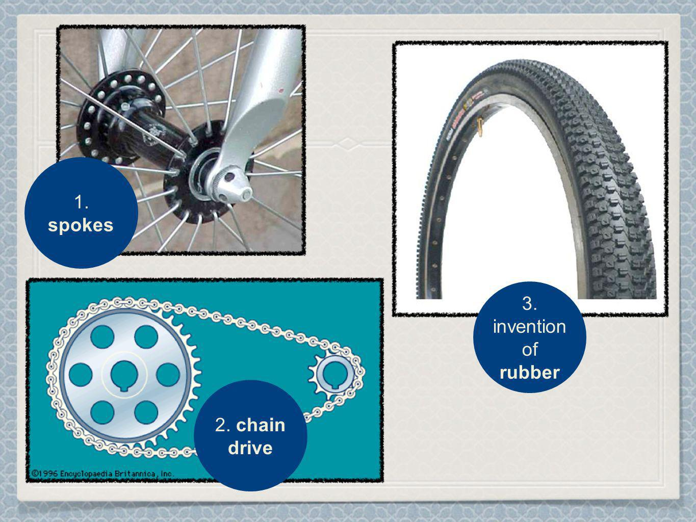 1. spokes 2. chain drive 3. invention of rubber