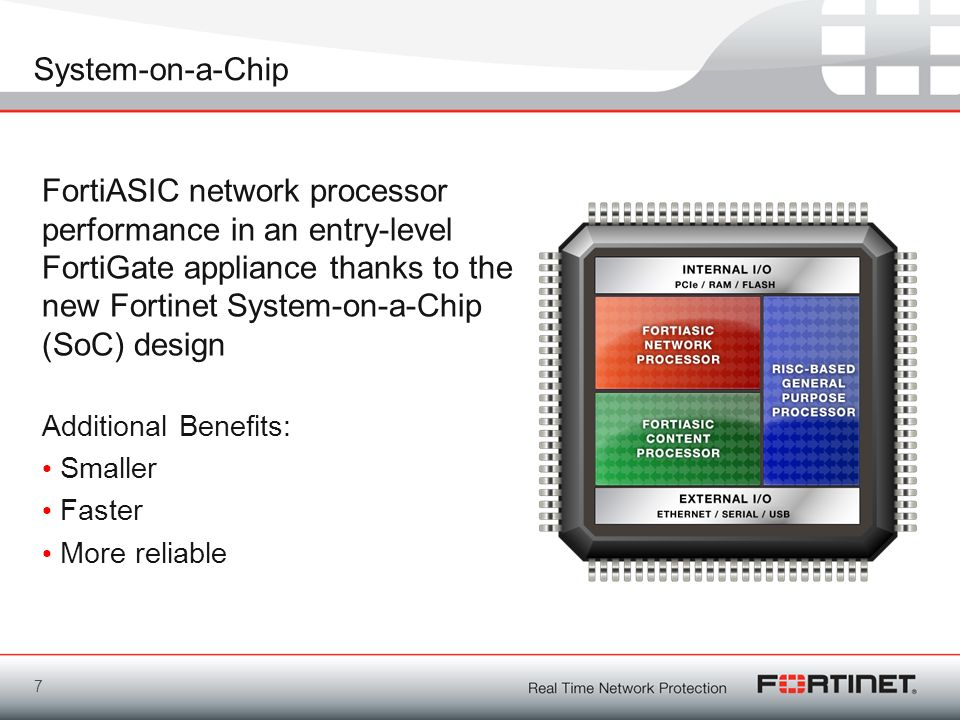 System-on-a-Chip FortiASIC network processor performance in an entry-level FortiGate appliance thanks to the new Fortinet System-on-a-Chip (SoC) desig