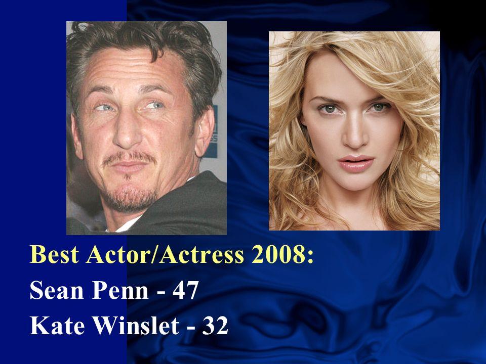 Best Actor/Actress 2008: Sean Penn - 47 Kate Winslet - 32