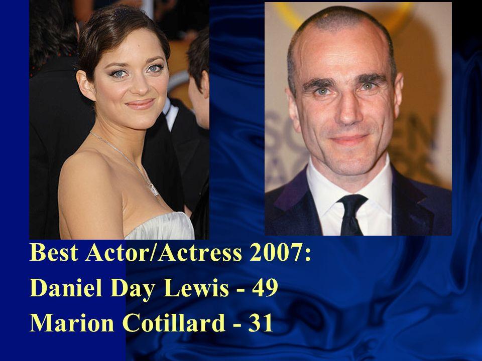 Best Actor/Actress 2007: Daniel Day Lewis - 49 Marion Cotillard - 31
