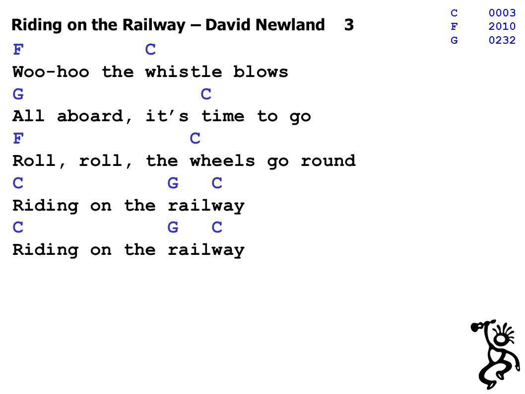 Riding on the Railway – David Newland 14 Summer, winter, spring and fall, railway rolls right through it all Lifeblood of a nation´s pride, across this country far and wide F C Woo-hoo the whistle blows G C All aboard, its time to go F C Roll, roll, the wheels go round C G C Riding on the railway C G C Riding on the railway C0003 F2010 G0232