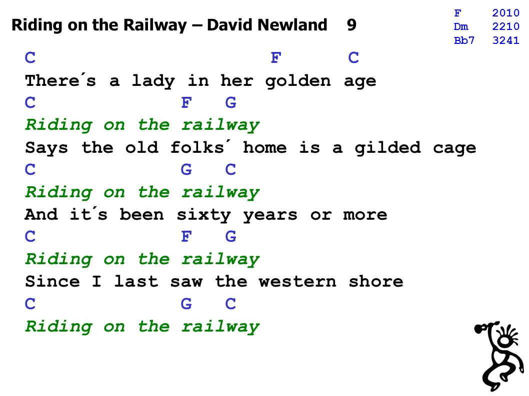 Riding on the Railway – David Newland 9 C F C There´s a lady in her golden age C F G Riding on the railway Says the old folks´ home is a gilded cage C G C Riding on the railway And it´s been sixty years or more C F G Riding on the railway Since I last saw the western shore C G C Riding on the railway F2010 Dm2210 Bb73241