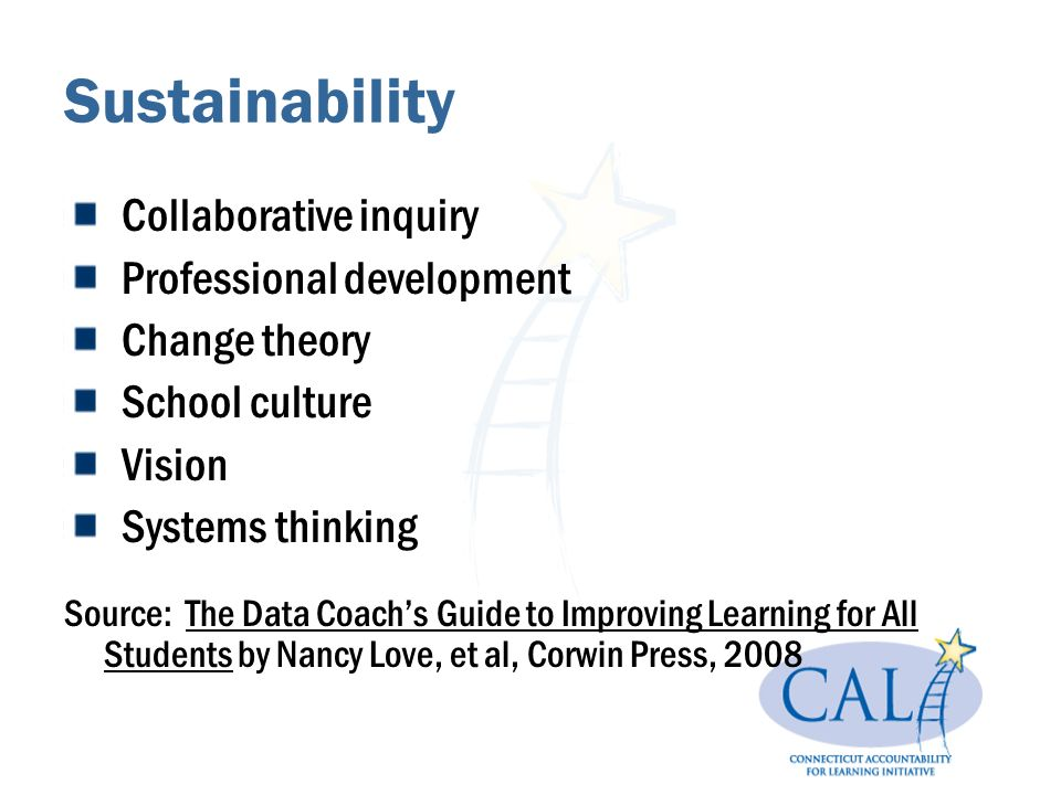 Sustainability Collaborative inquiry Professional development Change theory School culture Vision Systems thinking Source: The Data Coachs Guide to Improving Learning for All Students by Nancy Love, et al, Corwin Press, 2008