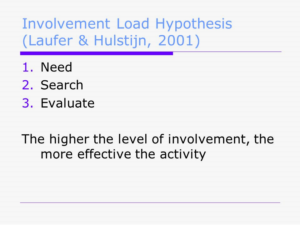 Involvement Load Hypothesis (Laufer & Hulstijn, 2001) 1.Need 2.Search 3.Evaluate The higher the level of involvement, the more effective the activity