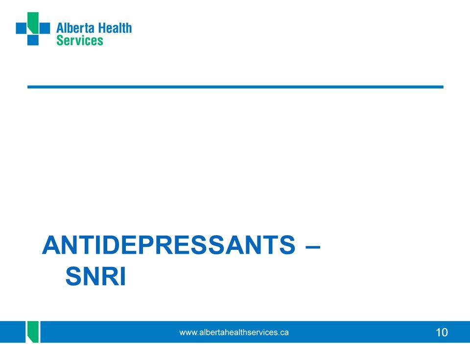 10 ANTIDEPRESSANTS – SNRI