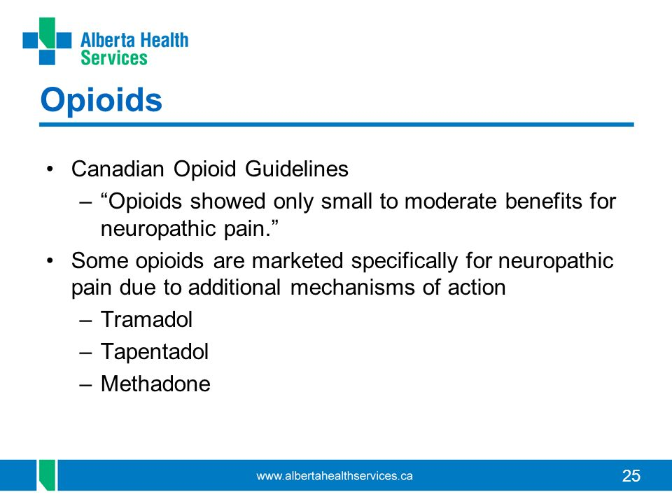 25 Opioids Canadian Opioid Guidelines –Opioids showed only small to moderate benefits for neuropathic pain.